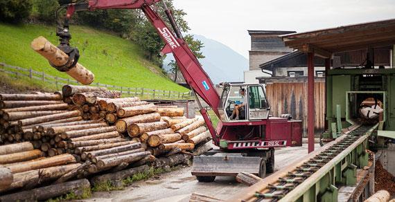 Rundholz Sägerei Ultental Südtirol